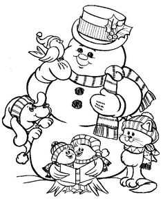 Mr Snowman And Friends Celebrating Christmas Coloring Page