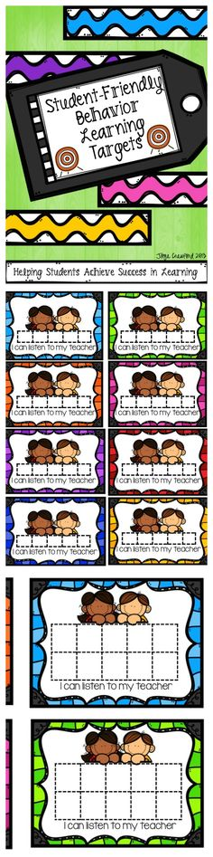 Everyone has those few students in their room who require a little bit more than the regular classroom management strategies. These students need more targeted and frequent positive feedback. That's where my behavior learning targets come in. From over 15 Classroom Rules, Special Education Classroom, Future Classroom, School Classroom, Classroom Organization, Classroom Activities, Classroom Ideas, Classroom Management Strategies, Behaviour Management