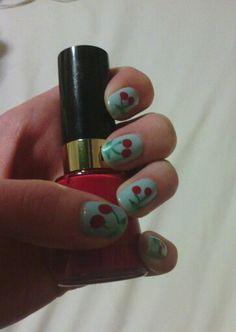 Cherry nails :) Cherry Nails, Nail Care, My Nails, Beauty, Cosmetology, Nail Manicure, Nail Repair