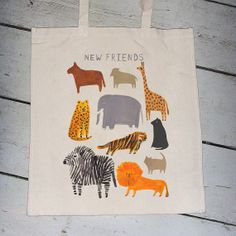 Animal Canvas Tote Bag Art Bag, Simple Bags, Canvas Tote Bags, New Friends, Cotton Canvas, Reusable Tote Bags, Textiles, Branding, Diy Crafts