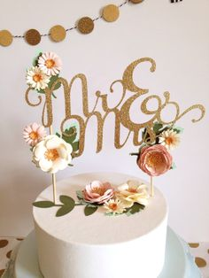 Personalized gold glitter wedding cake topper