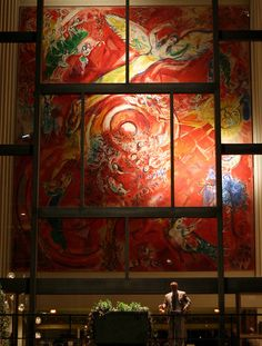 """The Metropolitan Opera House's Marc Chagall mural, """"The Triumph of Music"""". Abother Chagall, """"Sources of Music"""", is hung on the right side of the same lobby. Culver City California, The Magic Flute, Tree Wall Murals, Hieronymus Bosch, New York Museums, Metropolitan Opera, Marc Chagall, Arts Ed, Kandinsky"""