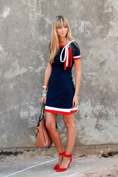 navy white red. cute red shoes! bow would probably drive me nuts (and dress a little short for me) but otherwise love the look