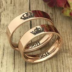 King & Queen Rings, Crown Rings, His and Hers Personalize Engrave Couples Ring, Rose Gold Plated Stainless Steel Wedding Band Wedding Bands For Him, Diamond Wedding Rings, Diamond Bands, Wedding Ring Bands, King Queen Rings, King Ring, Engagement Ring Settings, Engagement Rings, Stainless Steel Wedding Bands