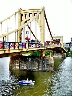 Pittsburgh's Andy Warhol bridge yarn bombing.
