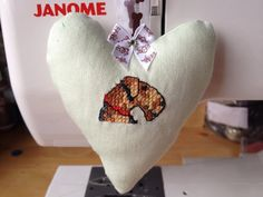 Fabric Hanging Heart featuring a hand embroidered Airedale Terrier on Etsy, £8.50