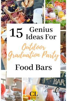 These food bar ideas are perfect for any high school graduation party. 15 delicious high school graduation party spread ideas. #graduation #highschool Graduation Party Outfits, Vintage Graduation Party, Outdoor Graduation Parties, Graduation Party Centerpieces, Graduation Party Planning, Graduation Party Themes, Graduation Ideas, Graduation Gifts, Party Food Spread