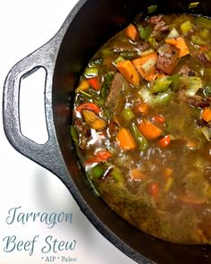 Tarragon Beef Stew (sub scallion for onion and squash for sweet potato) / Enjoying This Journey Paleo Recipes, Real Food Recipes, Cooking Recipes, Yummy Food, Easy One Pot Meals, How To Eat Paleo, Whole 30 Recipes, Soups And Stews, Clean Eating