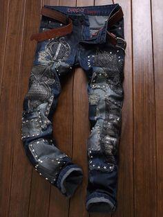 Frayed Embroidered Rivet Embellished Ripped Jeans