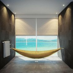 What's romantic, reminiscent of sculpture and shimmers-all-over? A lavish golden hammock tub that seems to float in mid-air.