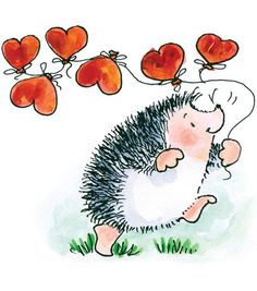 hedge hog with heart balloons