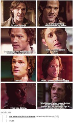 Sam and  trust isssues #SPN #Sam #Dean and now, for the first time, Sam doesn't trust Dean. Heart. Broken.