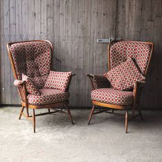 pair of vintage ercol highback armchairs by iamia | notonthehighstreet.com