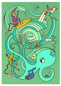 Octo surf illustration on paper. Surfing, Paper, Illustration, Projects, Design, Log Projects, Blue Prints, Surf, Surfs