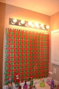 A little overkill with the Elf on the Shelf. The old basket weave tape over the mirror trick - crazy elves