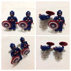 LEGO Cufflinks - Mens Cufflinks - Groom Cufflinks - Groomsmen Gift -  Lego® Captain America Cufflinks - Lego® Minifigure Avengers WEDDING on Etsy, $20.00