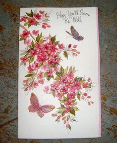 Vintage Cards Hallmark Get Well Flowers & by TheBackShak on Etsy, $3.00