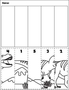 Dinosaur scene cut and order for numbers Package includes five no prep worksheets. Dinosaurs Preschool, Dinosaur Activities, Preschool Writing, Dinosaur Crafts, Free Preschool, Preschool Worksheets, Preschool Learning, Kindergarten Activities, Math Resources