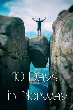 The best 10 day Norway itinerary especially for hiking and outdoor activities. Hike to Pulpit Rock Trolltunga Kjeragbolten and Romsdalseggen. Visit cities like Stavanger Bergen and Alesund. Norway Vacation, Norway Travel, Norway Roadtrip, Hiking Norway, Greenland Travel, Alesund, Tromso, Jotunheimen National Park, Visit Bergen