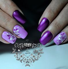 Having short nails is extremely practical. The problem is so many nail art and manicure designs that you'll find online Manicure Nail Designs, Fingernail Designs, Diy Nail Designs, Nail Manicure, Diy Nails, Purple Nail Art, Purple Nail Designs, Pretty Nail Art, Beautiful Nail Art