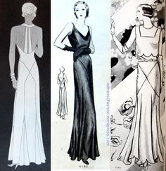 Butterick evening patterns , from 1931 and 1932.