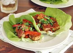 Spicy Tofu Lettuce Wraps--Added more bell pepper and carrots to make to tofu/veggie ratio more equal.