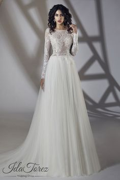 Luxurious A-Line Bateau Natural Sweep-Brush Train Tulle Ivory Long Sleeve Zipper With Buttons Wedding Dress Beading Sequins 01061