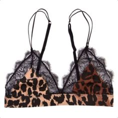 Love Stories Leopard Knit Love Lace Bralette (755 SEK) ❤ liked on Polyvore featuring intimates, bras, underwear, adjustable bra, leopard bra, lacy bras, sheer demi bra and lace bralette bra