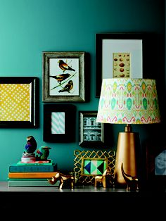 Don't be afraid to surround vintage bird prints with bold color.