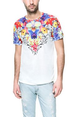 Image 3 of skull and flowers t shirt from zara fashion for Zara mens floral shirt