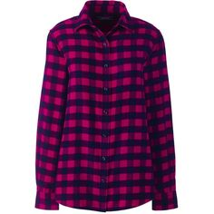 Lands' End Women's Petite Flannel Shirt (667.035 IDR) ❤ liked on Polyvore featuring tops, shirts, red, red plaid top, tartan flannel shirt, plaid top, red plaid shirt and purple shirt