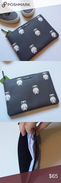 """Kate Spade owl pouch/cosmetic bag How cute is this KS pouch? Gray with adorable owls! Use it as a clutch or a cosmetic bag for all your small items and throw it in your purse! Kate Spade logo on the front. Zip closure on top. New with tags and never used. 9.5""""x7"""". kate spade Bags Cosmetic Bags & Cases"""