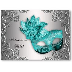 Teal Blue Masquerade Party Admission Tickets Business Cards