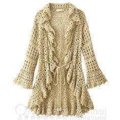 Alba Rosa Hand Crochet Beaded Frill Cardigan