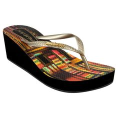 Women's Jams World Wedge Flip Flop Sandals - Multicolor 10, Zinna Gld