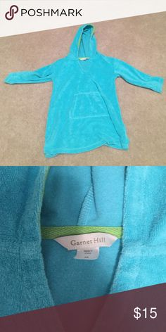 Garnet Hill terry cloth cover up size XS Turquoise terry cloth cover up Swim Coverups