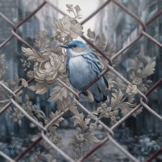 Blue Tit Hyper Realistic Paintings of Butterflies Flowers and Birds. By Patrick Kramer