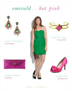 Emerald Green Dress for a Wedding Guest with Hot Pink