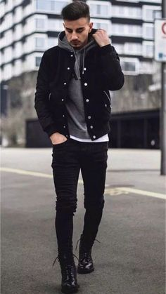 Cool and Trendy Winter Fashion Style Ideas for Men - Mode masculine, formes de style et astuces vestimentaires Mens Fall Street Style, Casual Street Style, Winter Outfits Men, Stylish Mens Outfits, Fall Outfits, Mens Winter Clothes, Casual Outfits For Guys, Outfit Ideas For Guys, Night Outfits