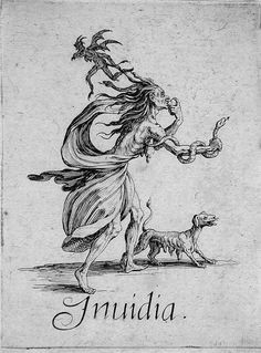 Inuidia, Envy. The Seven Deadly Sins by Jacques Callot, 1621
