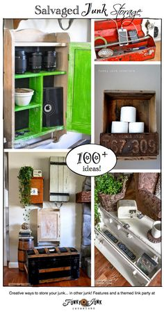 100+ Salvaged Junk Storage ideas... store your bad junk in good junk you already have! Features and a link party at http://www.funkyjunkinte...
