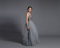 Multi-layered tulle skirt gray tulle skirt handmade maxi