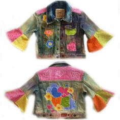 Infant Girl's Upcycled Recycled Tie Dye Jean Jacket size 12 Months -- hippie or boho style! It has been tie dyed and the sleeves altered to look like a 1960s style.