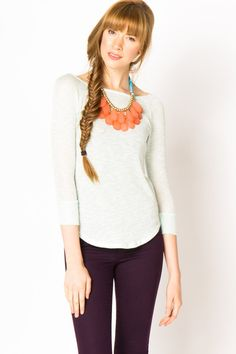Mint Shirt Tail Raglan Sweater Knit