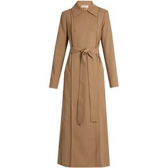 Nina Ricci Tie-waist wool-gabardine trench coat (30 750 UAH) ❤ liked on Polyvore featuring outerwear, coats, light beige, woolen trench coat, trench coat, tie waist coat, beige coat and wool gabardine coat
