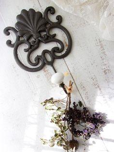 Charcoal Gray Ornate Coat Hook. Cast Iron w Porcelain ball knob hook. Large ornate Wall Decor Hook. Beach Cottage