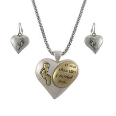 footprints in the sand bracelet   Two Tone `Footprints in the Sand` Heart Necklace and Dangle Earrings ...