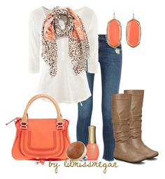 """""""#190 - Coral, Brown & Leopard"""" by lilmissmegan ❤ liked on Polyvore featuring rag & bone, H&M, La Fiorentina, Blue Berry, Chloé, ORLY, Kendra Scott and Melissa Joy Manning"""