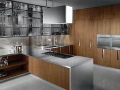 Cozinha de madeira com maçanetas BARRIQUE | Cozinha em aço - ERNESTOMEDA