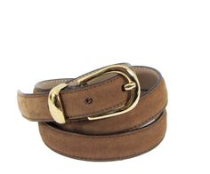 MGM Italian Chocolate Brown Suede Leather Belt by WhatnotGems